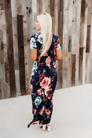 Flirty In Florals Wrap Dress (Navy)
