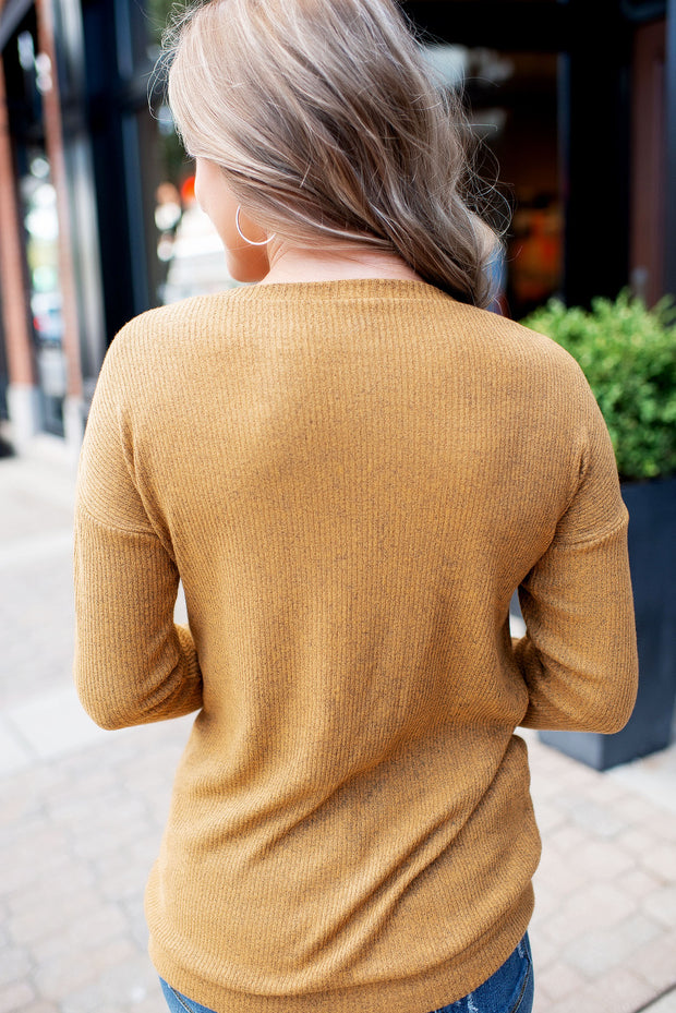 All About That Lace Ribbed Top (Mustard)
