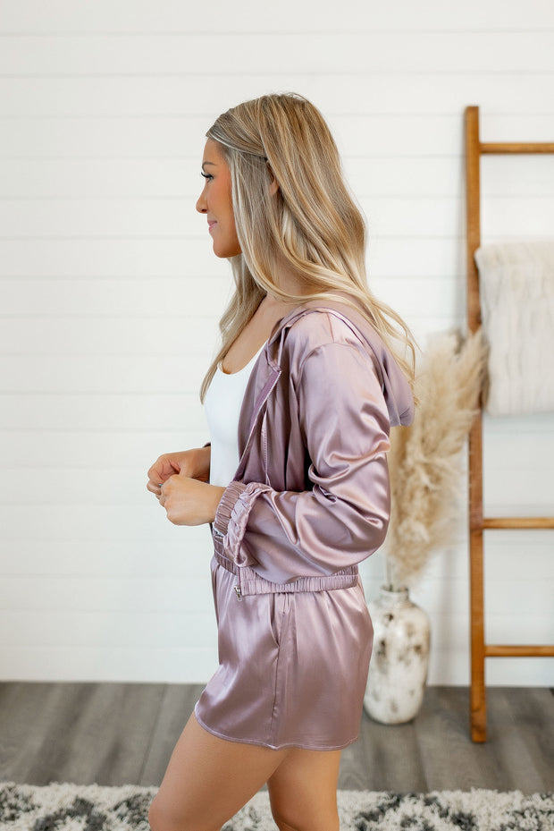 Satin Zip Up Crop Hoodie (Misty Mauve)