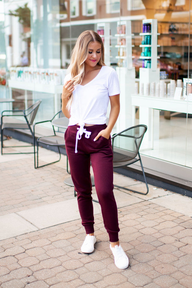 Breakfast In Bed Joggers (Maroon)