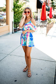 The Technicolor Travels Romper (Blue/Mint) FINAL SALE