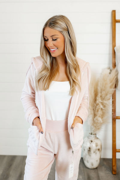 Sweet Memories Zip Up Hoodie (Blush Pink)
