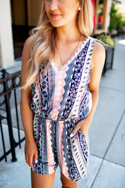 Striped Paisley Lace Romper (Navy)