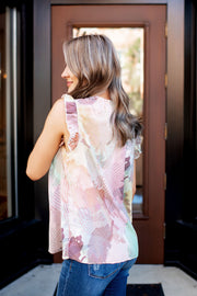 Mystical Ruffle Tank (Taupe/Olive)