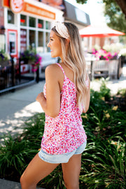 The Lina Floral Twist Tank (Pink)