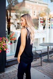 Best Dressed Pleated Tank (Black)