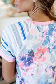 Mix It All Together Top (Ivory/Pink)