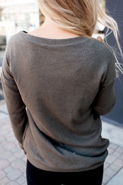 All About That Lace Ribbed Top (Olive) DOORBUSTER