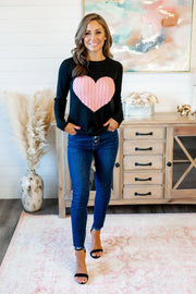 Embrace My Heart Sweater (Black/Pink)