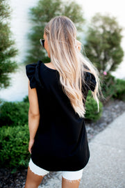 The Ryan Ruffle Tunic (Black)