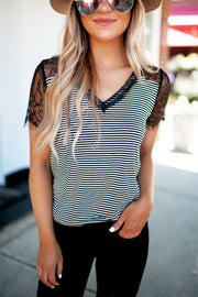 The Claire Striped Lace Top (Black)