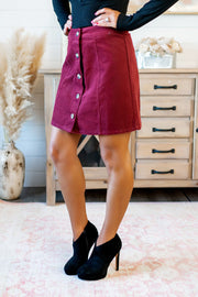 The Janice Mini Skirt (Wine)