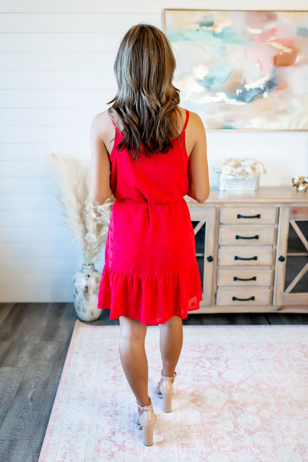 What's Your Secret Dotted Dress (Red)