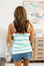 Feelin' Fine Striped Tank (Ivory/Mint)