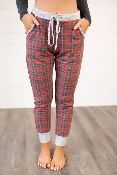 Flannel Joggers (Red) FINAL SALE