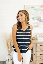 Feelin' Fine Striped Tank (Navy/Ivory)