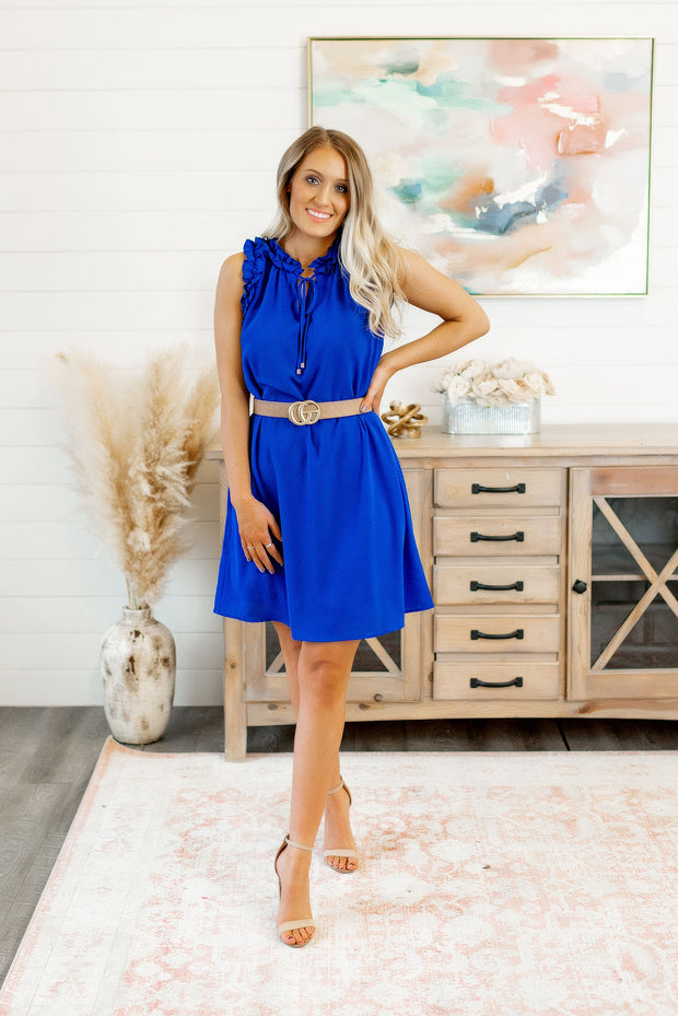 Making Connections Ruffled Dress (Royal Blue)
