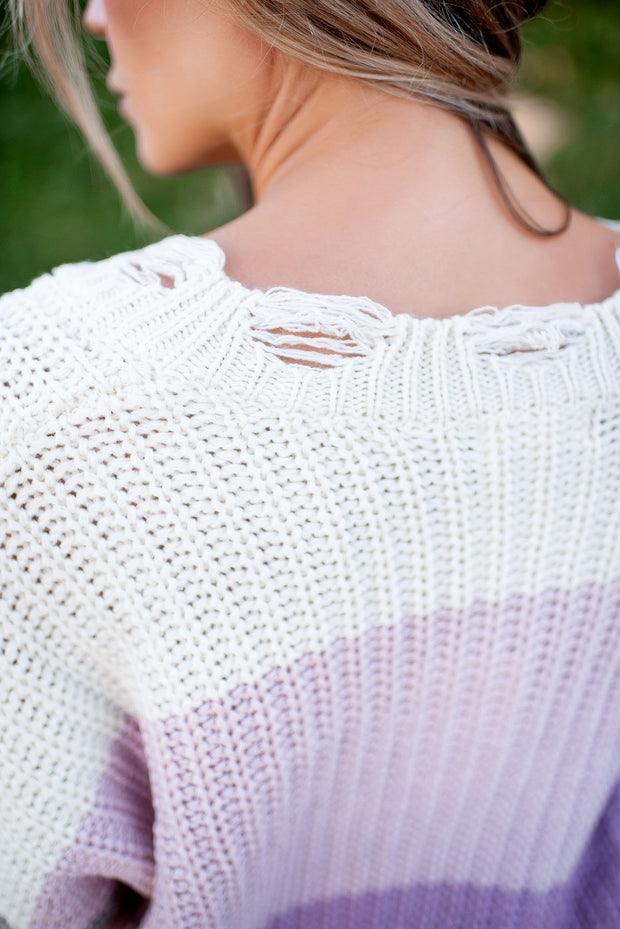 Trendy Treat Tattered Sweater (Blush)