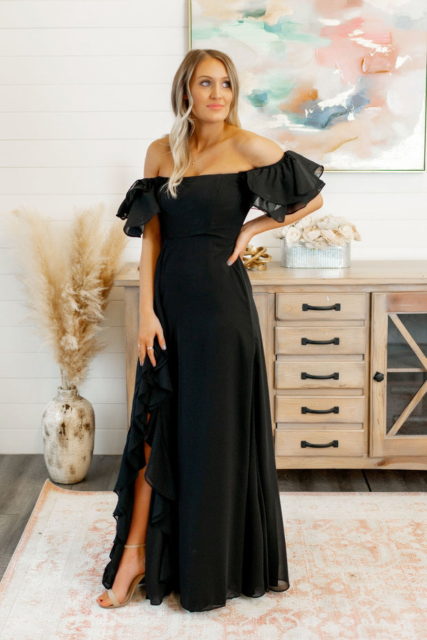 The Catalina Ruffle Slit Gown (Black)