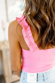 The Rosy Ruffle Bodysuit (Hot Pink)