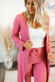 Ribbed Cardigan & Legging Set (Mauve)
