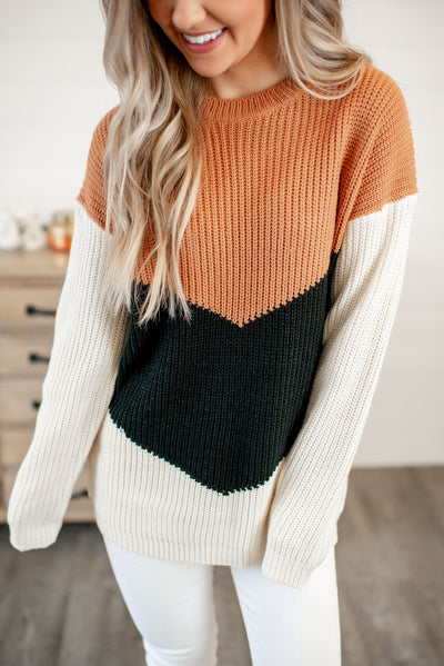 Velma Color Block Sweater (Rust/Black) FINAL SALE