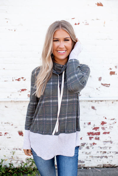 Plaid To Know You Top (Olive)