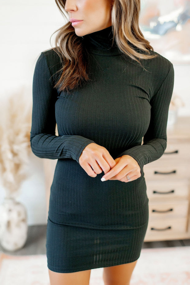 Ribbed Bodycon Dress (Black)