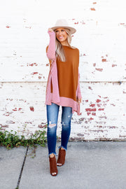 Striped Cape Top (Honey Brown)