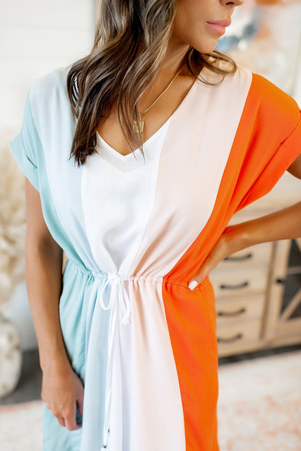 Block Party Midi Dress (Blue/Coral)