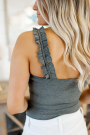 The Rosy Ruffle Bodysuit (Charcoal)