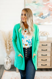 Dorothy Open Front Cardigan (Green)