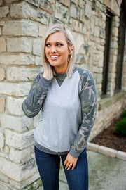Camo Raglan Top (Grey)