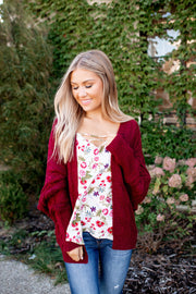 Chillin By The Bonfire Knit Cardigan (Burgundy)