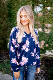 Falling For Florals Top (Navy)