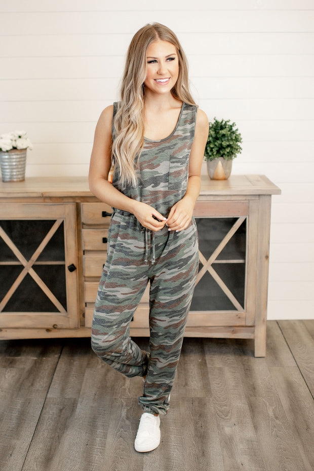 Can You See Me Now Camo Jumpsuit