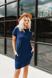 Rockin' Pocket T-Shirt Dress (Navy)