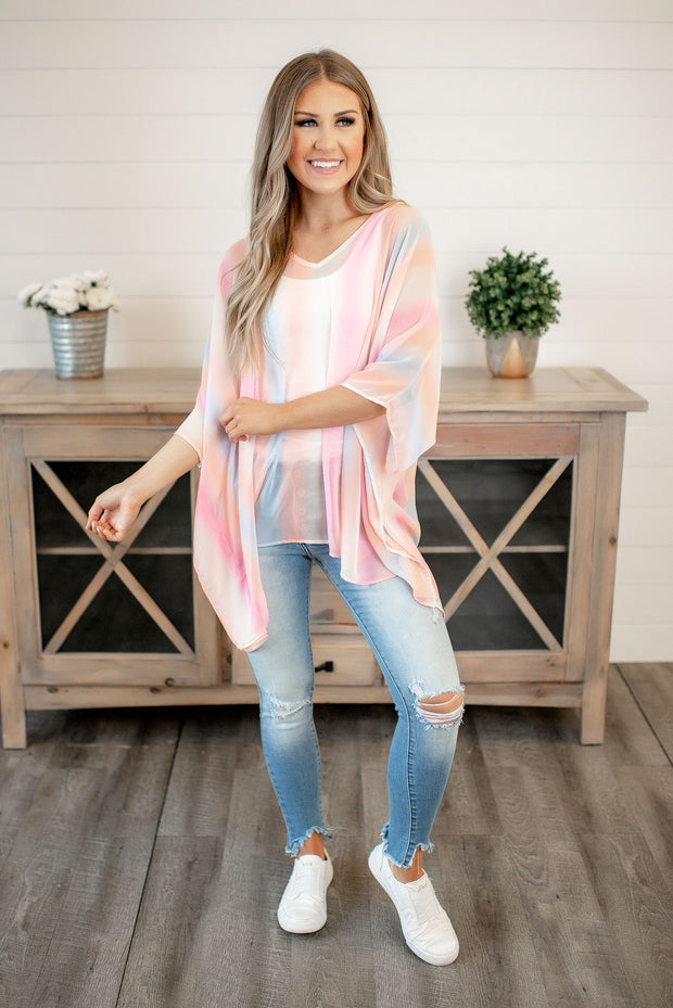Gradient Tunic Blouse (Pink/Peach/Blue)