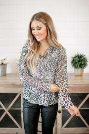 Head of the Office Blouse (Grey Leopard) FINAL SALE