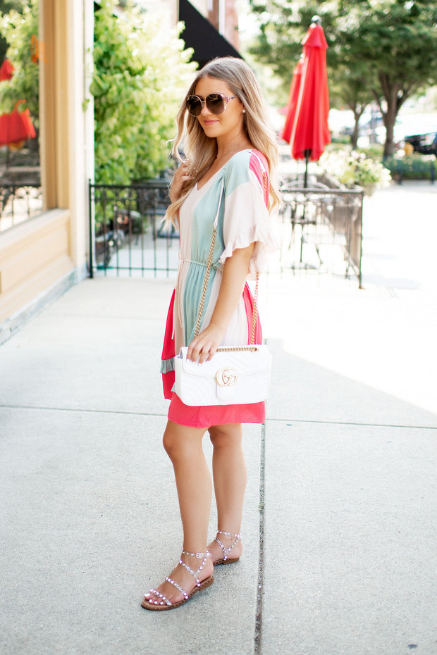 The Parachute Ruffle Dress (Coral/Sage)