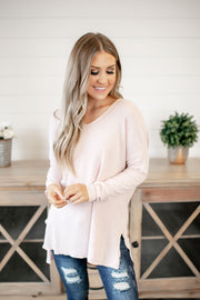 Z Supply Marled V-Neck Tunic (Pale Blush/Ivory)