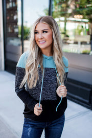 Heathered Color Block Pullover (Mint)