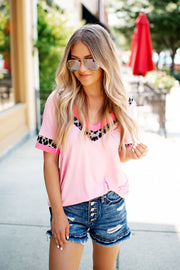 Bound In Leopard Top (Blush Pink)