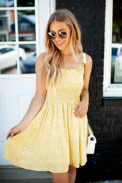 Oh Happy Day Mini Dress (Yellow Floral)