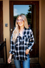 The Rowen Plaid Button Up (Black)