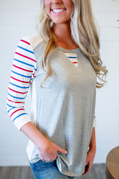 RW&B Striped Raglan Top