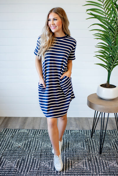 Anchors Away Striped T-Shirt Dress (Navy)(FINAL SALE)