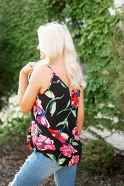 Floral Surplice Tank (Black) FINAL SALE