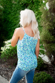 The Lina Floral Twist Tank (Blue)