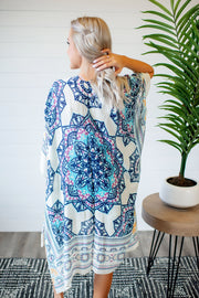 Printed Medallion Kaftan (Navy/Purple)